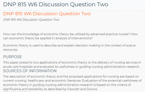 DNP 815 W6 Discussion Question Two