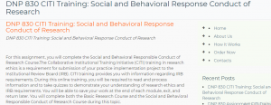 DNP 830 CITI Training Social and Behavioral Response Conduct of Research